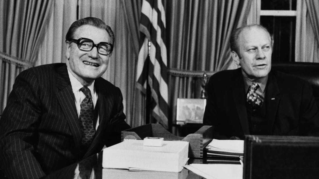 Nelson Rockefeller (left) resigned as New York's governor after Gerald Ford (right) chose him as vice president. Rockefeller's lieutenant governor Malcolm Wilson took over.