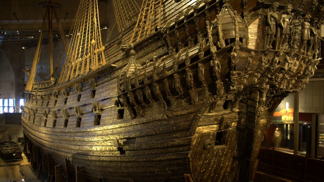 The Vasa shipwreck displayed in Sweden's Vasa Museum.