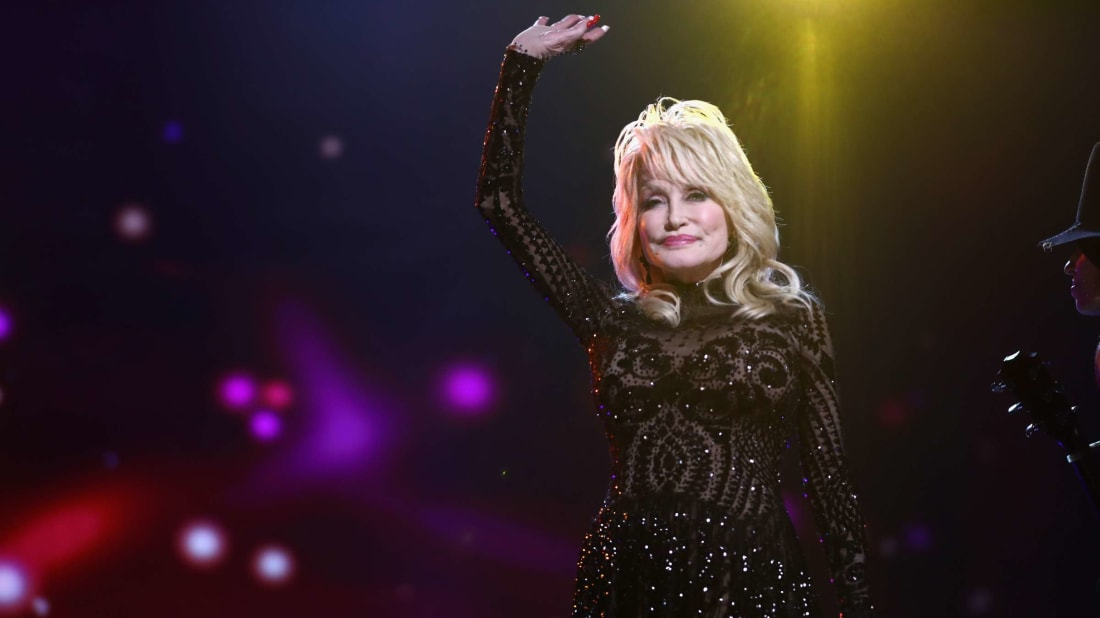 Dolly Parton winning MusiCares Person of the Year in 2019.