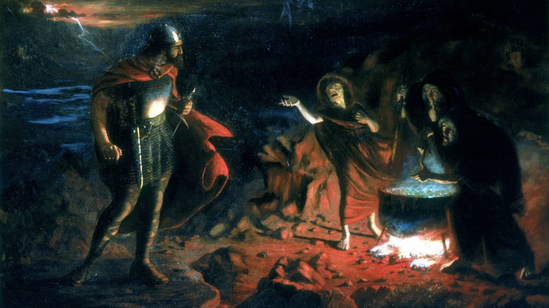 Macbeth and the three witches in Shakespeare's possibly cursed play.