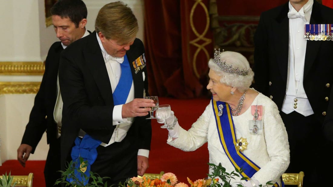The Queen makes a toast with King Willem-Alexander of The Netherlands during a State Banquet at Buckingham Palace in October 2018.