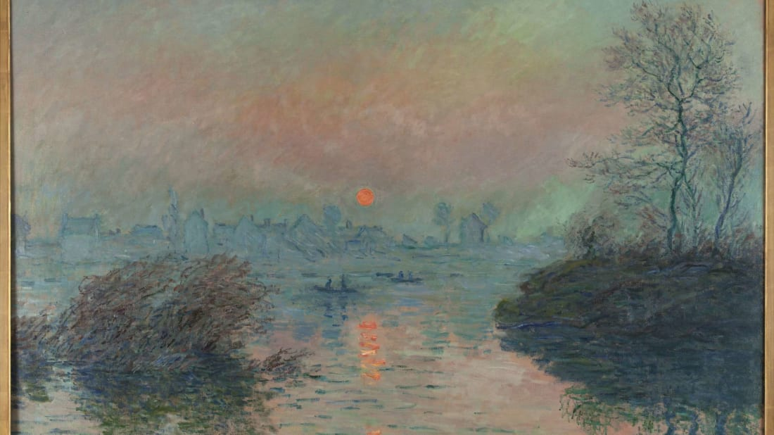 """Setting Sun on the Seine at Lavacourt"" by Claude Monet"