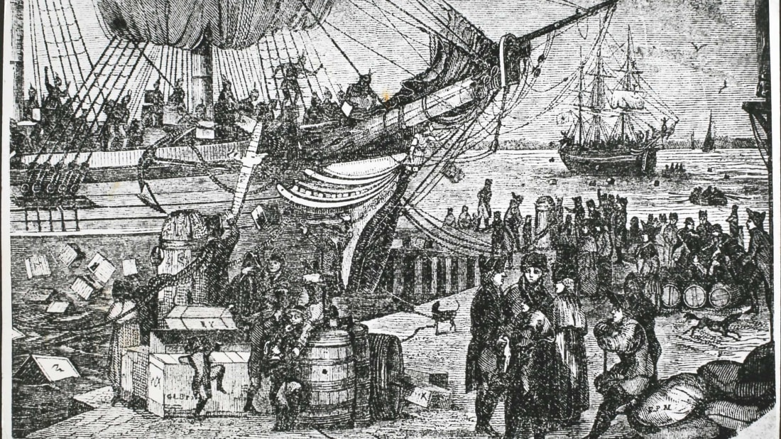 The Boston Tea Party on December 16, 1773