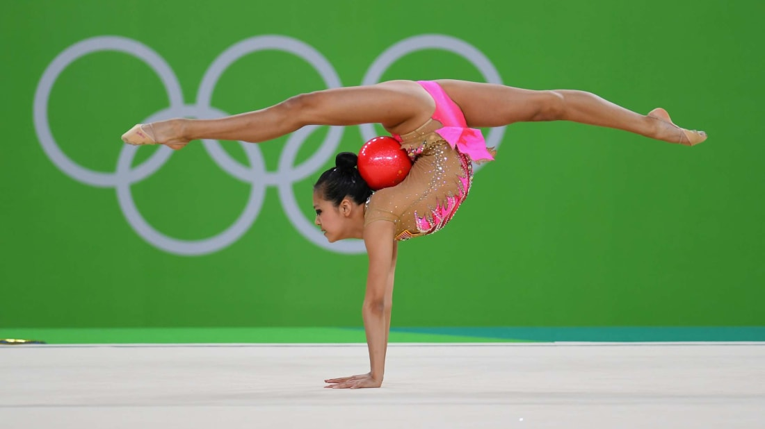 Rhythmic gymnast Laura Zeng competes for the U.S. at the 2016 Olympic Games in Rio de Janeiro.