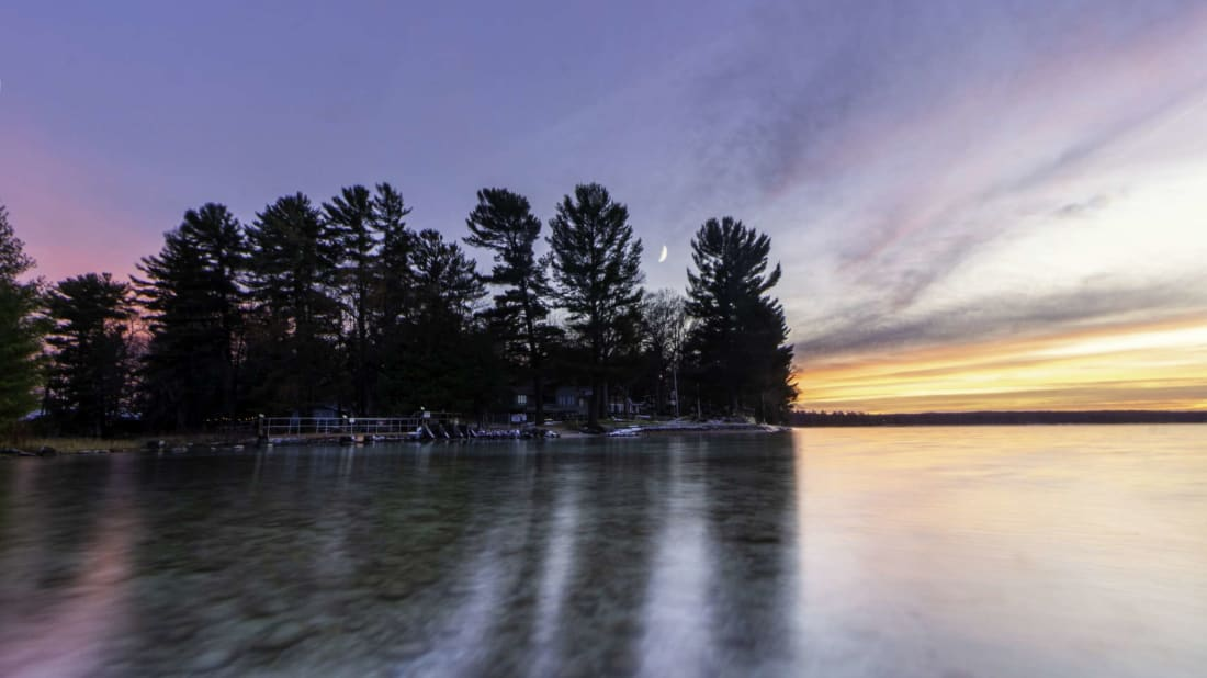 The Cut River off Higgins Lake in Roscommon, Michigan.