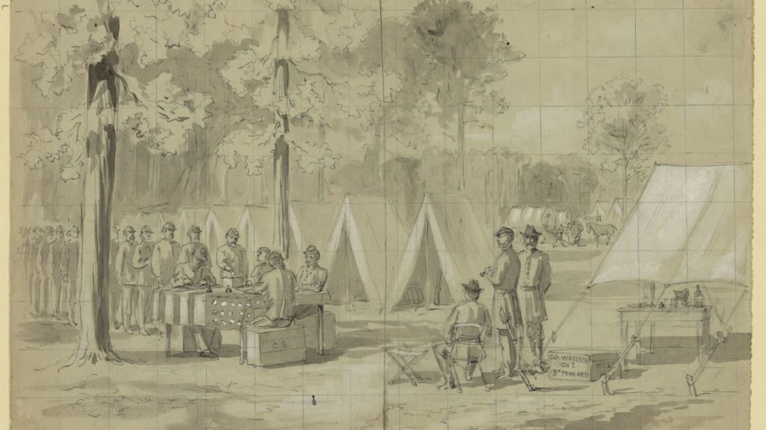 An 1864 illustration by William Waud of Union soldiers voting in Pennsylvania.
