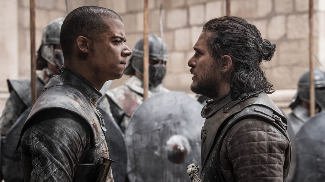 Jacob Anderson and Kit Harington in the series finale of Game of Thrones.