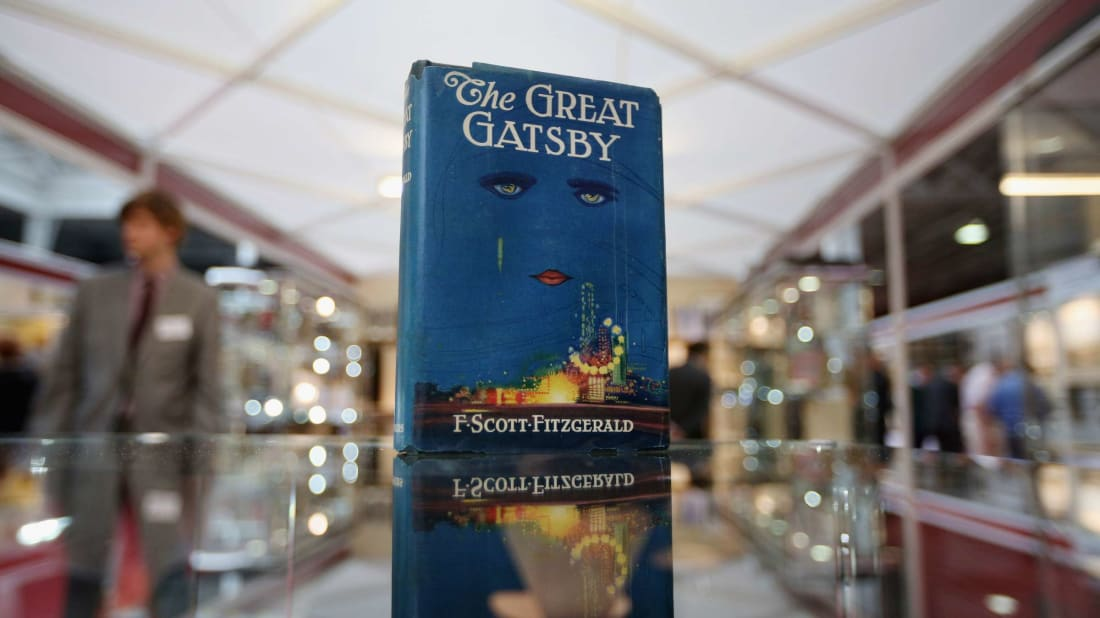 A first edition of F. Scott Fitzgerald's The Great Gatsby was displayed at the London International Antiquarian Book Fair in 2013.