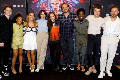 Stranger Things cast members Noah Schnapp, Priah Ferguson, Millie Bobby Brown, Carmen Cuba, Winona Ryder, David Harbour, Caleb McLaughlin, Joe Keery, and Dacre Montgomery