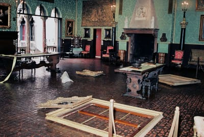 An FBI photograph of the crime scene after the Isabella Stewart Gardner Museum robbery, as seen in This is a Robbery: The World's Biggest Art Heist (2021).