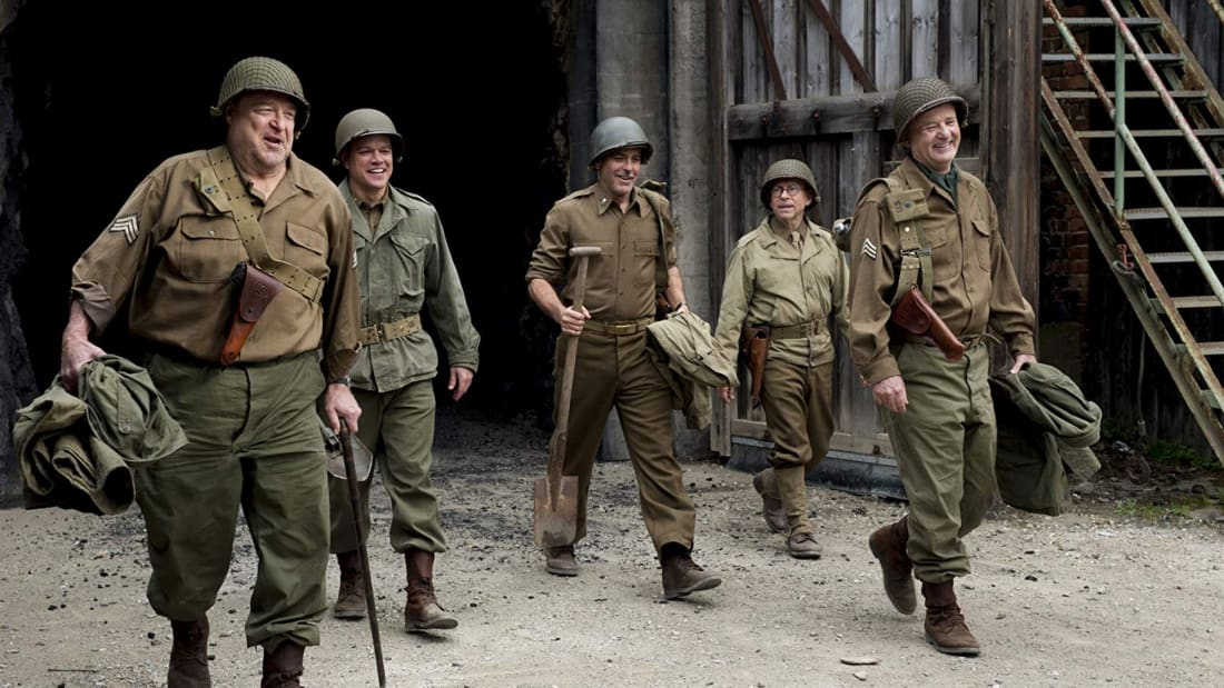 John Goodman, Matt Damon, George Clooney, Bob Balaban, and Bill Murray in 'The Monuments Men' (2014)
