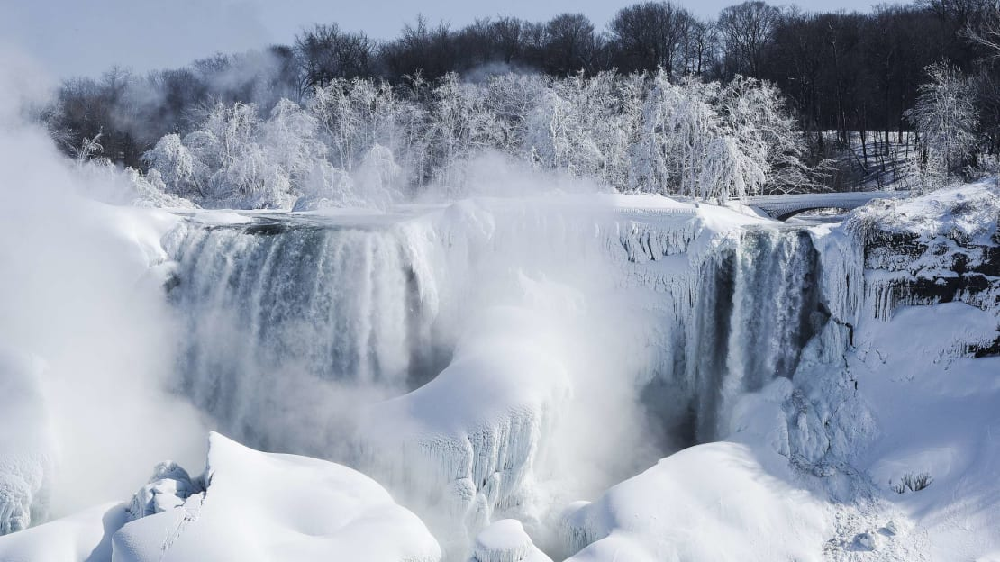 The American side of the Niagara Falls partially frozen over in February 2015.