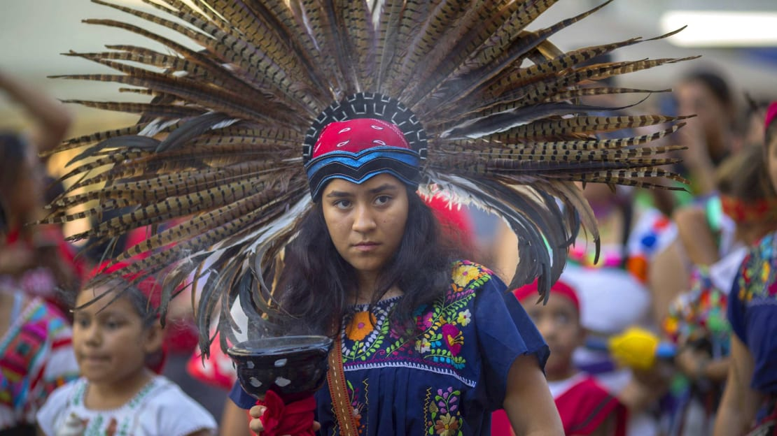A woman at a Los Angeles Indigenous Peoples Day event.