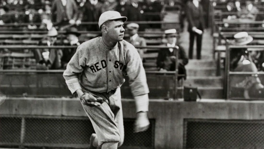 Babe Ruth pitching for Boston.