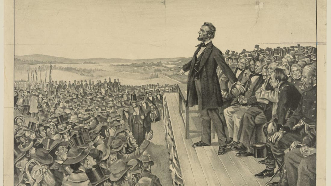 An illustration of Abraham Lincoln delivering the Gettysburg Address from 1905.