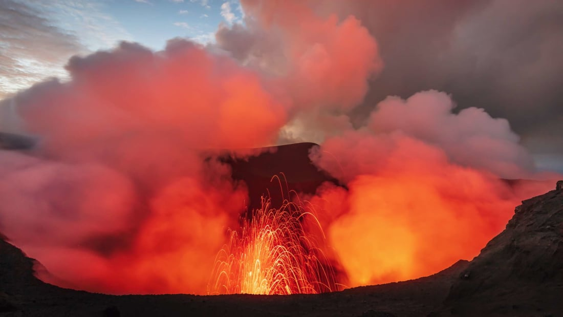 A volcano erupts on the Pacific island of Vanuatu, part of Earth's Ring of Fire.