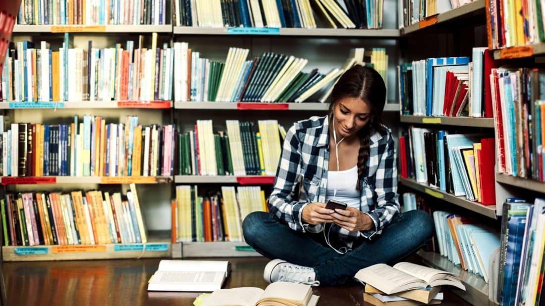 A bibliophile in her natural habitat.