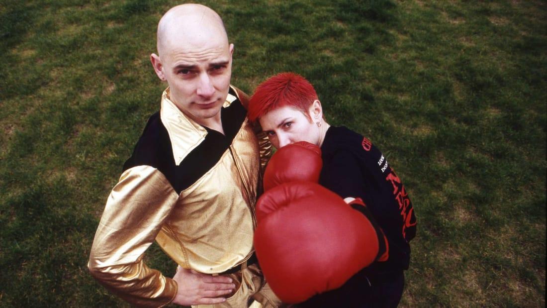 Chumbawamba's Danbert Nobacon and June Abbott in 1992.