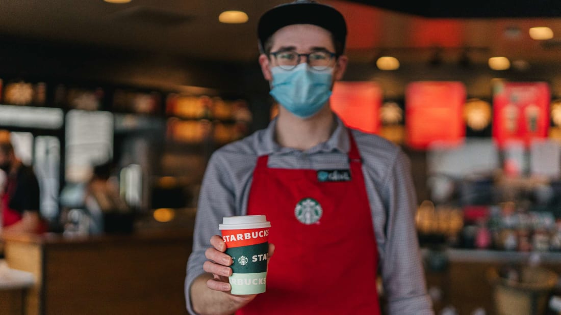 Starbucks is saying thank you in typical Starbucks fashion.