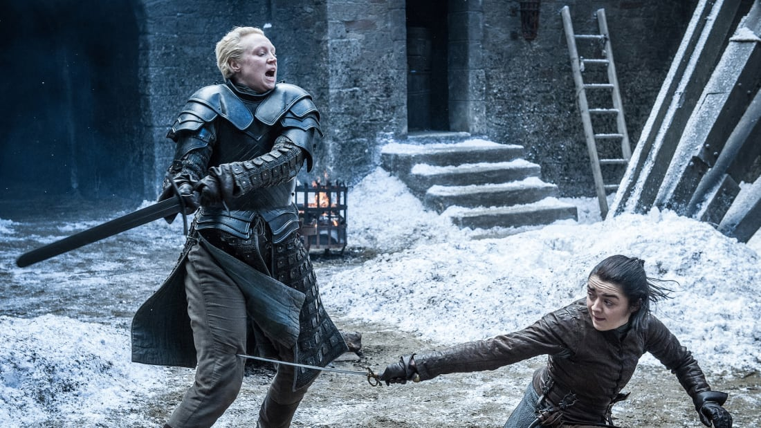 Gwendoline Christie and Maisie Williams in Game of Thrones.