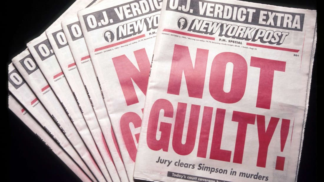 """The New York Post announces that O.J. Simpson has been found """"Not Guilty!"""" in the trial for the murders of his ex-wife, Nicole Brown Simpson, and her friend, Ronald Goldman."""