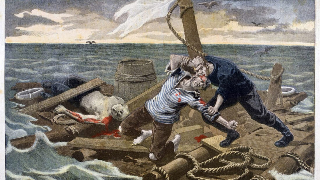 An illustration from the September 17, 1899 issue of Le Petit Journal depicting the events on the Medusa raft.