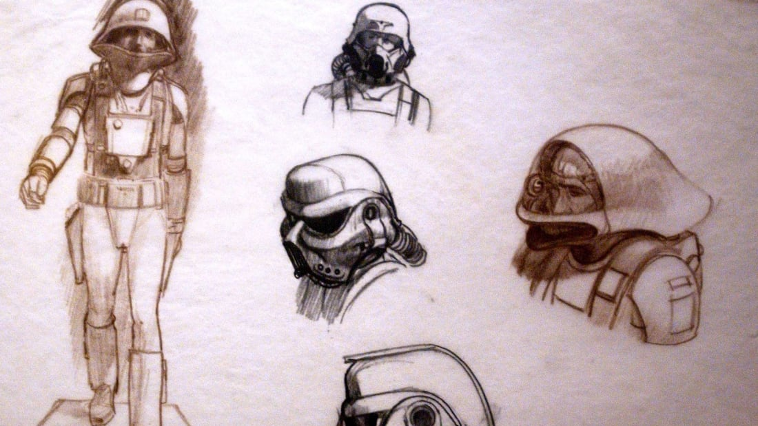 The original designs for the Imperial Stormtroopers by artist Ralph McQuarrie, who would provide concept art throughout the original trilogy.