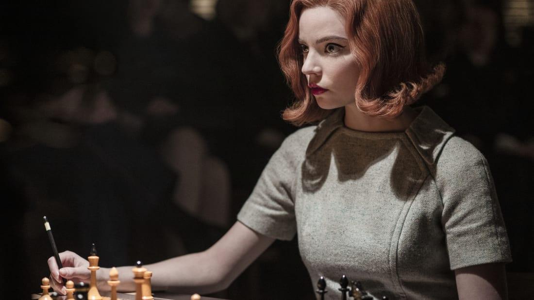 Anya Taylor-Joy as Beth Harmon in The Queen's Gambit (2020).
