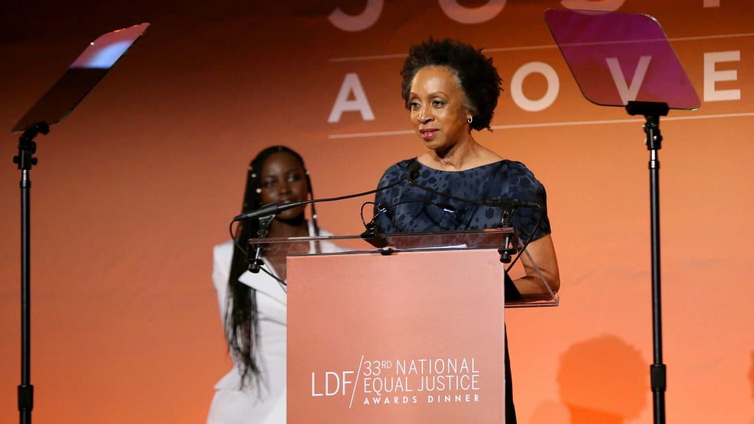 Attorney Nina Shaw speaks at a 2019 awards ceremony for the NAACP Legal Defense Fund.