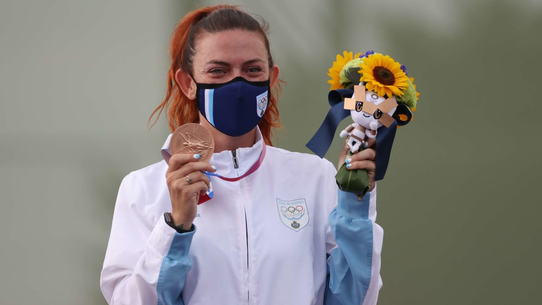 Alessandra Perilli with her bronze medal after the trap-shooting finals on July 29, 2021.