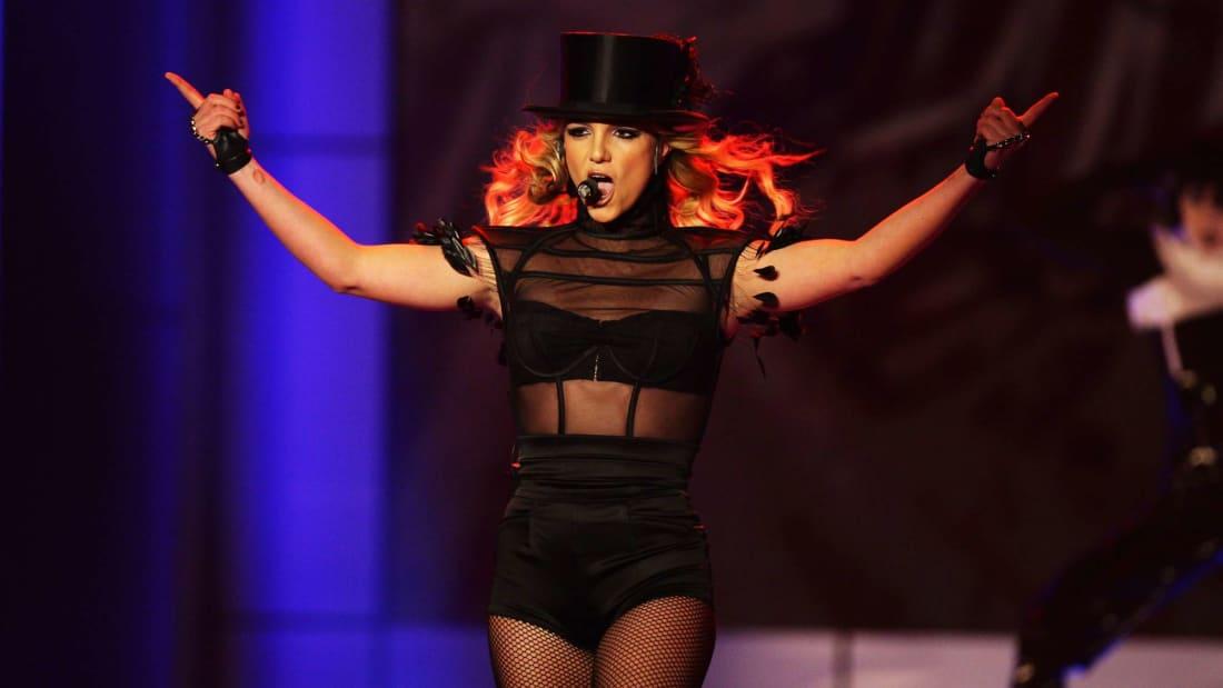 Britney Spears performing in Germany in 2008.