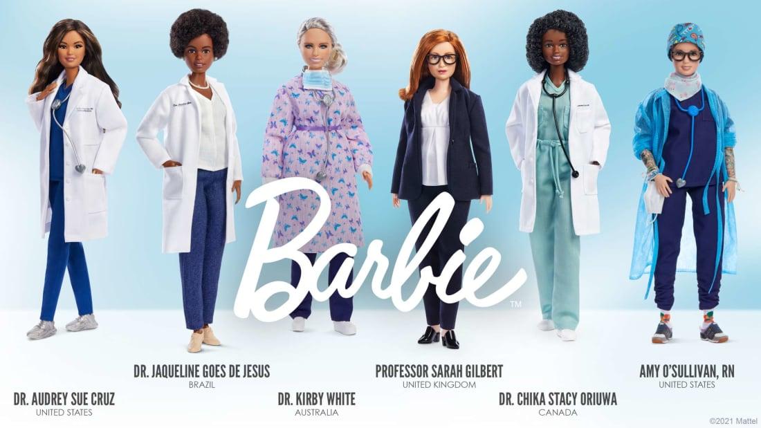 Barbie versions of six healthcare heroes.