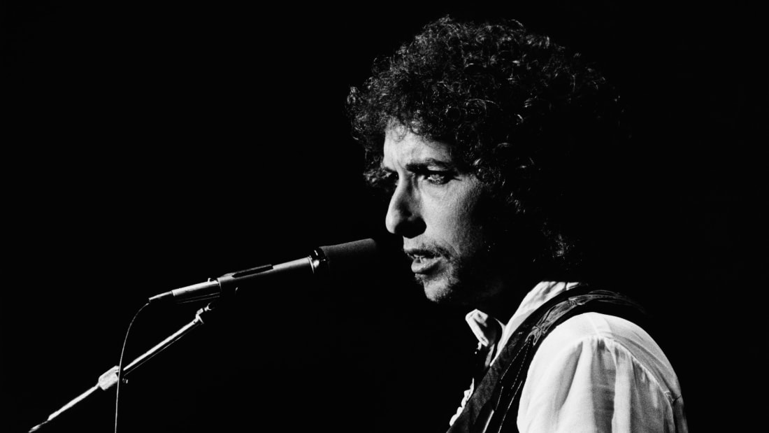 Bob Dylan performs a concert at the Warfield in San Francisco, California, in 1979.