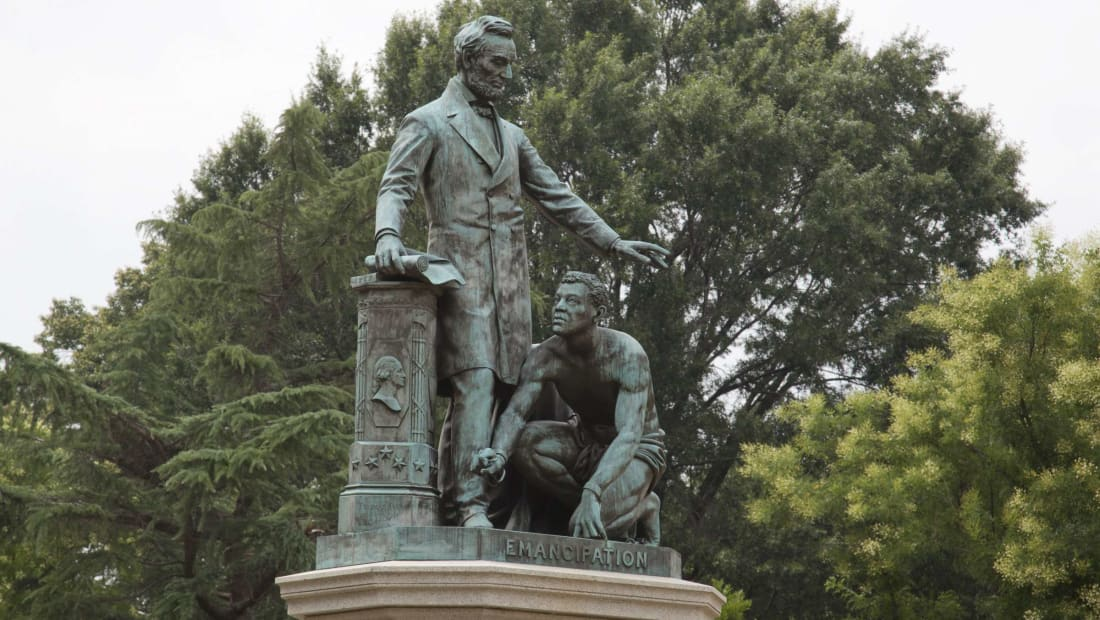"""What I want to see before I die is a monument representing the negro, not couchant on his knees like a four-footed animal, but erect on his feet like a man,"" Frederick Douglass wrote in response to this memorial in 1876."