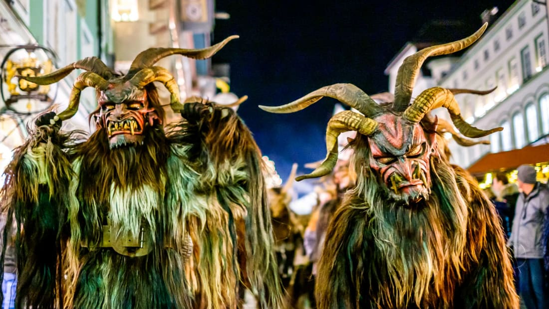 Participants in a traditional Krampuslauf in 2018 in Bad Toelz, Germany