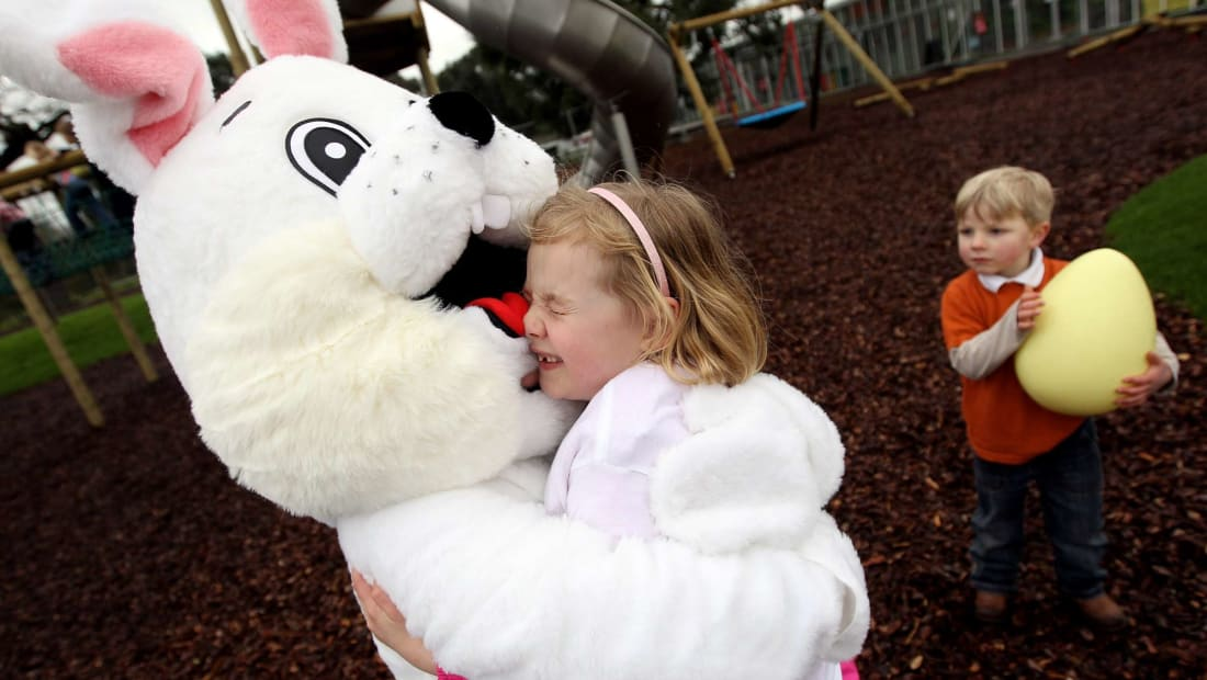 This child clearly can't get enough Easter Bunny in her life.