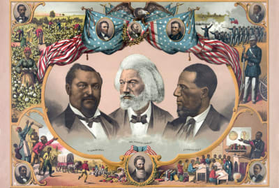 Vintage illustrations of African-American heroes, including Blanche Kelso Bruce, Frederick Douglass, and Hiram Rhoades Revels, surrounded by scenes of African-American life in the mid-1800s and portraits of Abraham Lincoln, James A. Garfield, and Ulysses S. Grant.