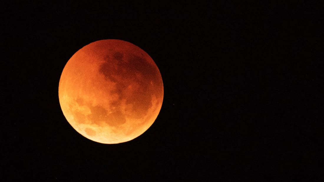 A blood moon as seen from Sydney, Australia on July 28, 2018