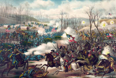 A painting of the Battle of Pea Ridge, which was fought from May 7 to 8, 1862