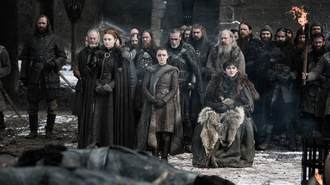 Rory McCann, Liam Cunningham, Sophie Turner, Maisie Williams, and Isaac Hempstead Wright in Game of Thrones