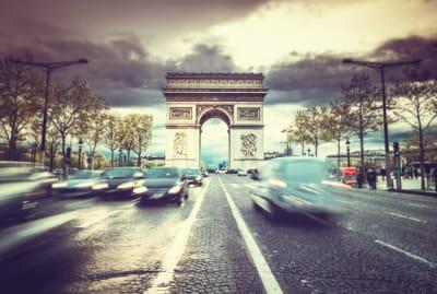 Rush hour on Paris's Avenue des Champs-Elysees.