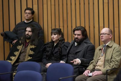Harvey Guillén, Kayvan Novak, Natasia Demetriou, Matt Berry, and Mark Proksch in What We Do in the Shadows.