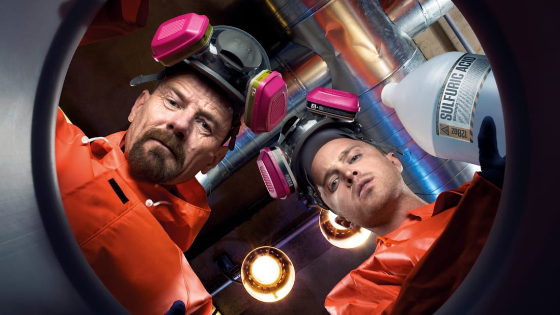 Bryan Cranston as Walter White and Aaron Paul as Jesse Pinkman in Breaking Bad.