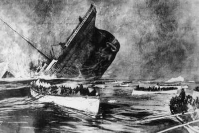 Illustration of survivors witnessing the sinking of Titanic.