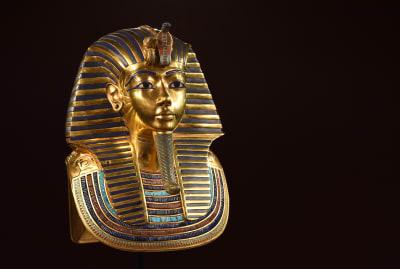 The burial mask of Egyptian King Tutankhamun.