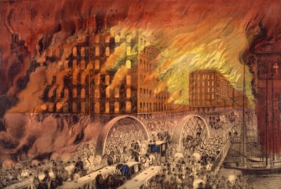 A Currier & Ives lithograph depicts people fleeing across the Randolph Street Bridge during the Great Chicago Fire of 1871.
