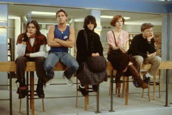Judd Nelson, Emilio Estevez, Ally Sheedy, Molly Ringwald, and Anthony Michael Hall in The Breakfast Club (1985).