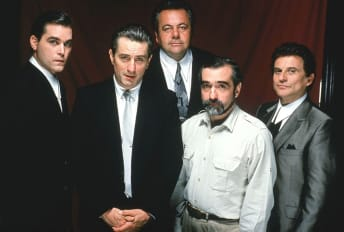 Ray Liotta, Robert De Niro, Paul Sorvino, Martin Scorsese, and Joe Pesci in Goodfellas (1990).