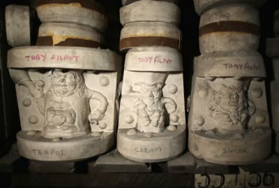 Historic pottery molds of Toby jugs from 1888.