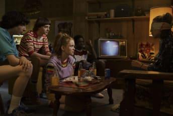 Finn Wolfhard, Noah Schnapp, Sadie Sink, Caleb McLaughlin, Millie Bobby Brown, and Sadie Sink in Stranger Things.